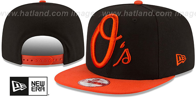 Orioles 'LOGO GRAND REDUX SNAPBACK' Black-Orange Hat by New Era : pictured without stickers that these products are shipped with