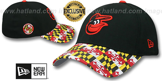 Orioles 'MARYLAND FLAG FLEX' Black-Flag Hat by New Era : pictured without stickers that these products are shipped with