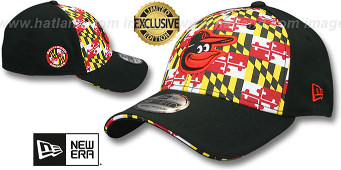 Orioles 'MARYLAND FLAG FLEX' Flag-Black Hat by New Era : pictured without stickers that these products are shipped with