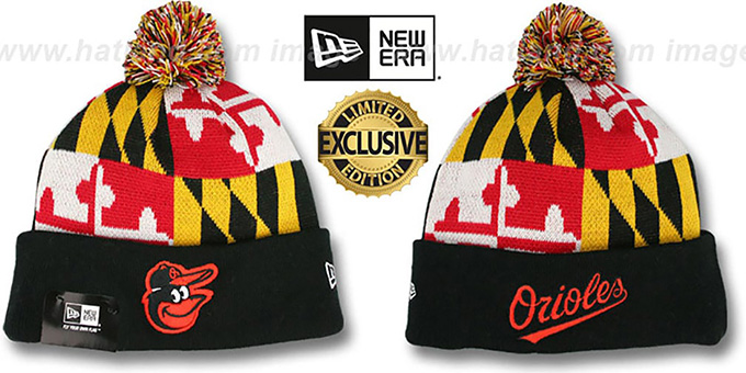 Orioles 'MARYLAND-FLAG POM-POM' Knit Beanie Hat by New Era : pictured without stickers that these products are shipped with