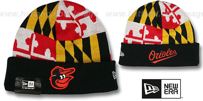 Orioles 'MARYLAND-FLAG' Knit Beanie Hat by New Era : pictured without stickers that these products are shipped with