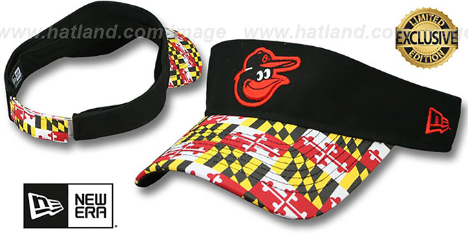 f0c40021c5d48 Baltimore Orioles MARYLAND FLAG VISOR Black-Flag by New Era