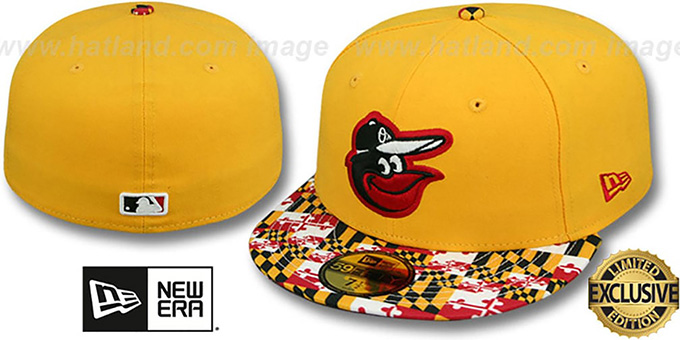Orioles 'MARYLAND-FLAG VIZA' Gold Fitted Hat by New Era : pictured without stickers that these products are shipped with