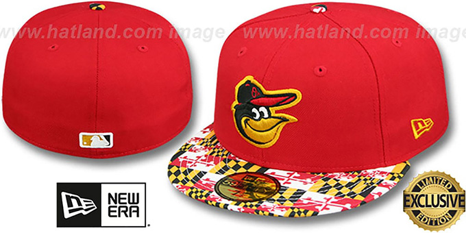 Orioles 'MARYLAND-FLAG VIZA' Red Fitted Hat by New Era : pictured without stickers that these products are shipped with