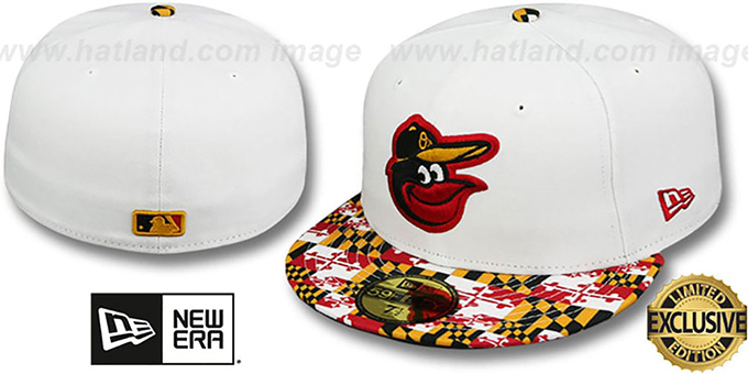 Orioles 'MARYLAND-FLAG VIZA' White Fitted Hat by New Era : pictured without stickers that these products are shipped with