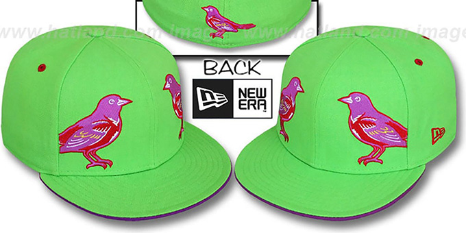 Orioles 'MIRROR PANELCUT' Lime-Purple Fitted Hat by New Era : pictured without stickers that these products are shipped with