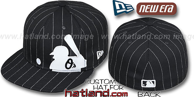 Orioles 'MLB SILHOUETTE PINSTRIPE' Black-White Fitted Hat by New Era : pictured without stickers that these products are shipped with
