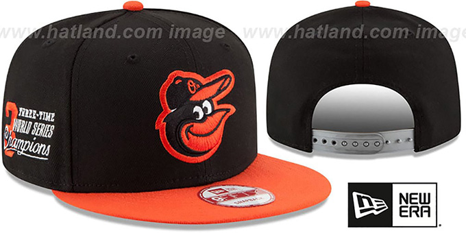 Orioles 'MLB STAR-TRIM SNAPBACK' Black-Orange Hat by New Era : pictured without stickers that these products are shipped with