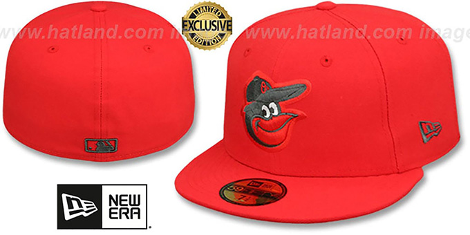 Orioles 'MLB TEAM-BASIC' Fire Red-Charcoal Fitted Hat by New Era : pictured without stickers that these products are shipped with