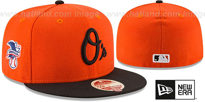Orioles 'MLB WOOL-STANDARD' Orange-Black Fitted Hat by New Era : pictured without stickers that these products are shipped with