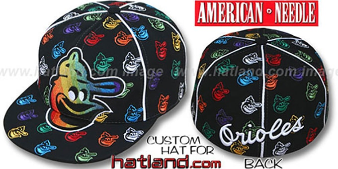 Orioles 'MONSTER RAINBOW DICE ALL-OVER' Black Fitted Hat by American Needle : pictured without stickers that these products are shipped with