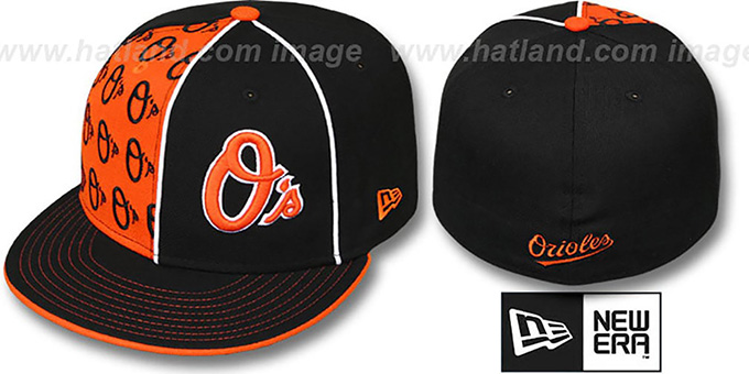 Orioles 'MULTIPLY' Black-Orange Fitted Hat by New Era : pictured without stickers that these products are shipped with