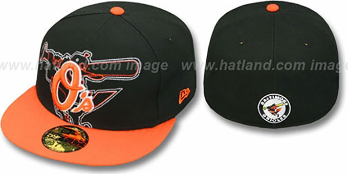 Orioles 'NEW MIXIN' Black-Orange Fitted Hat by New Era : pictured without stickers that these products are shipped with