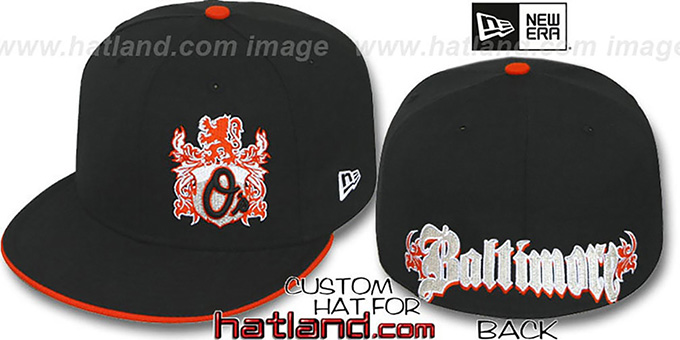 Orioles 'OLD ENGLISH SOUTHPAW' Black-Orange Fitted Hat by New Era : pictured without stickers that these products are shipped with