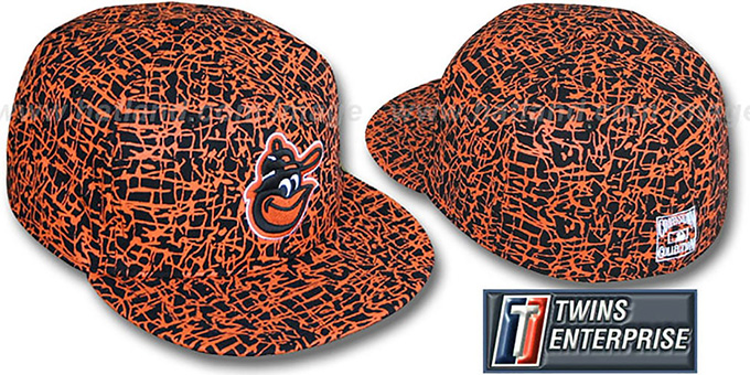 Orioles 'PAINT SPLATTER' Fitted Hat by Twins : pictured without stickers that these products are shipped with