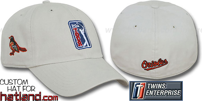 Orioles 'PGA FRANCHISE' Hat by Twins - stone : pictured without stickers that these products are shipped with