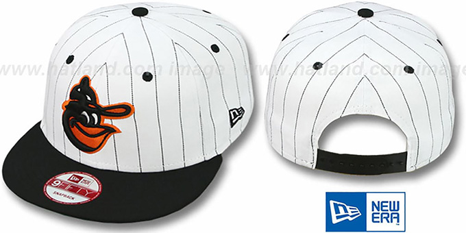 Orioles 'PINSTRIPE BITD SNAPBACK' White-Black Hat by New Era : pictured without stickers that these products are shipped with