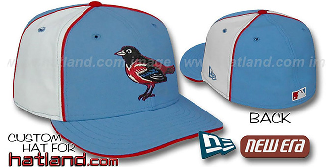 Orioles 'PINWHEEL-2' Columbia-White Fitted Hat : pictured without stickers that these products are shipped with