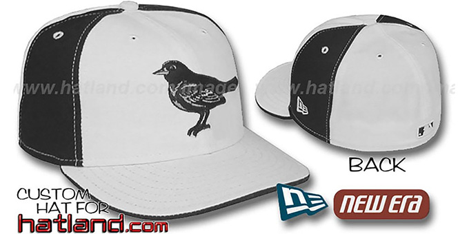 Orioles 'PINWHEEL' White-Black Fitted Hat by New Era : pictured without stickers that these products are shipped with