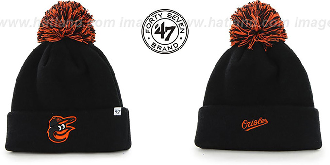 Orioles 'POMPOM CUFF' Black Knit Beanie Hat by Twins 47 Brand : pictured without stickers that these products are shipped with