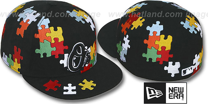 Orioles 'PUZZLE' Black Fitted Hat by New Era : pictured without stickers that these products are shipped with
