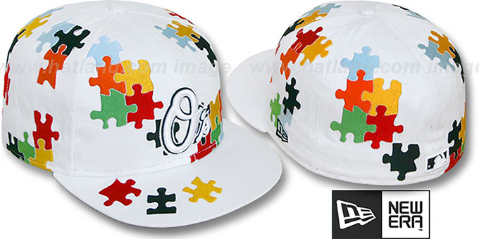 Orioles 'PUZZLE' White Fitted Hat by New Era : pictured without stickers that these products are shipped with