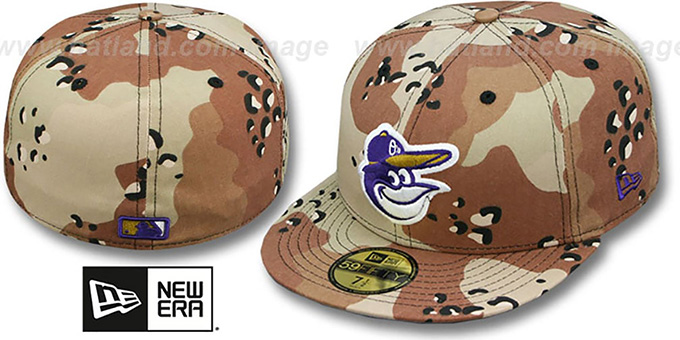 Orioles 'RAVENFLAGE' Desert Storm Fitted Hat by New Era : pictured without stickers that these products are shipped with