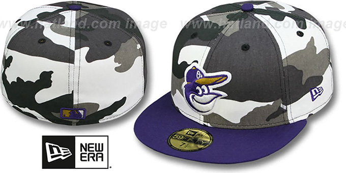 Orioles 'RAVENFLAGE' Urban-Purple Fitted Hat by New Era : pictured without stickers that these products are shipped with