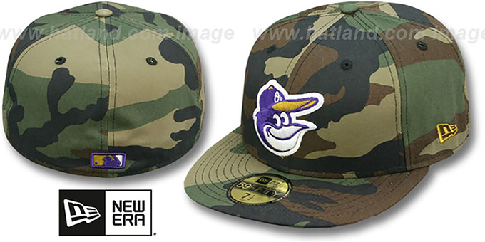 Orioles 'RAVENFLAGE' Woodland Fitted Hat by New Era : pictured without stickers that these products are shipped with