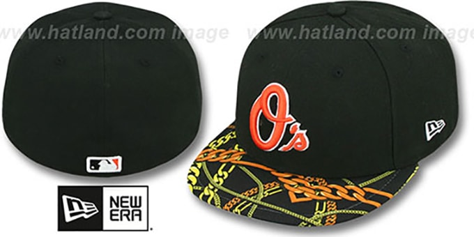 Orioles 'REAL CHAINS VIZA-PRINT' Black Fitted Hat by New Era : pictured without stickers that these products are shipped with
