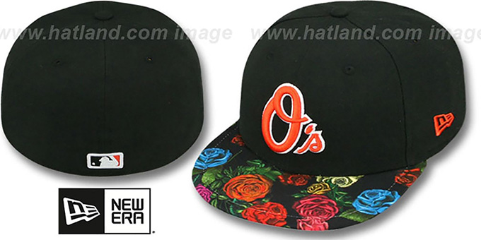 Orioles 'REAL FLORAL VIZA-PRINT' Black Fitted Hat by New Era : pictured without stickers that these products are shipped with