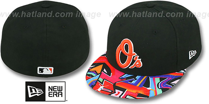 Orioles 'REAL GRAFFITI VIZA-PRINT' Black Fitted Hat by New Era : pictured without stickers that these products are shipped with