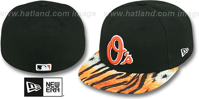 Orioles 'REAL TIGER VIZA-PRINT' Black Fitted Hat by New Era : pictured without stickers that these products are shipped with
