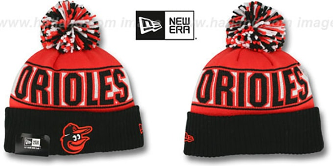 Orioles 'REP-UR-TEAM' Knit Beanie Hat by New Era : pictured without stickers that these products are shipped with