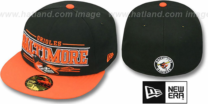 Orioles 'RETRO-SMOOTH' Black-Orange Fitted Hat by New Era : pictured without stickers that these products are shipped with