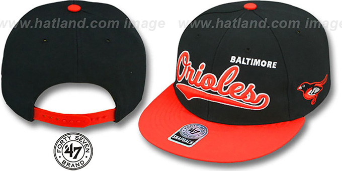 Orioles 'RETROSPECT MVP' Snapback Hat by Twins 47 Brand : pictured without stickers that these products are shipped with