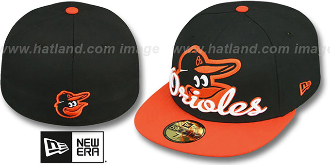 Orioles 'SCRIPT-PUNCH' Black-Orange Fitted Hat by New Era : pictured without stickers that these products are shipped with