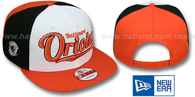 Orioles 'SCRIPTWHEEL SNAPBACK' White-Black-Orange Hat by New Era : pictured without stickers that these products are shipped with