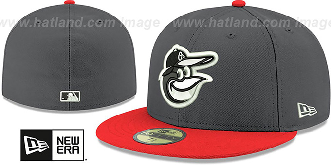 Orioles 'SHADER MELT-2' Grey-Orange Fitted Hat by New Era : pictured without stickers that these products are shipped with