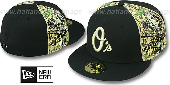 Orioles 'SHOWMEDA$' Black-Money Fitted Hat by New Era : pictured without stickers that these products are shipped with