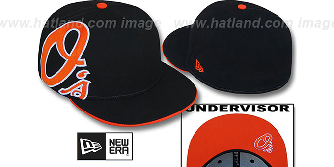 Orioles 'SIDEWINGER' Black Fitted Hat by New Era : pictured without stickers that these products are shipped with