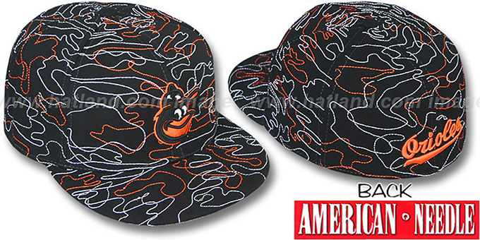 Orioles 'SILLY STRING ALL-OVER' Black Fitted Hat by American Needle : pictured without stickers that these products are shipped with