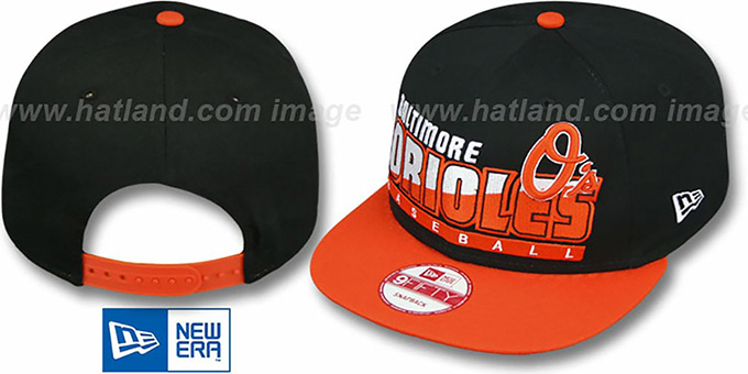 Orioles 'SLICE-N-DICE SNAPBACK' Black-Orange Hat by New Era : pictured without stickers that these products are shipped with