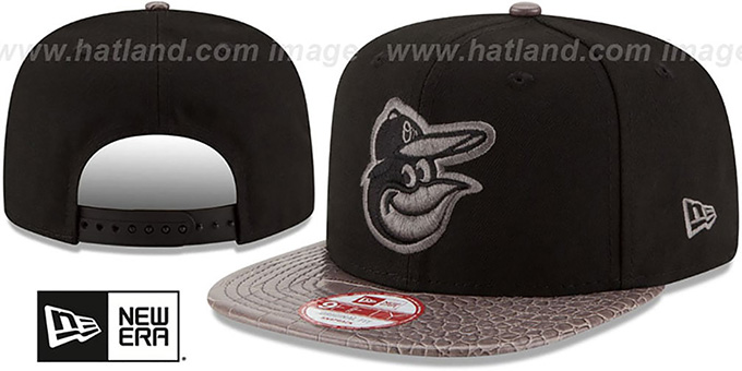 Orioles 'SNAKE SKINZ SNAPBACK' Black-Grey Adjustable Hat by New Era : pictured without stickers that these products are shipped with