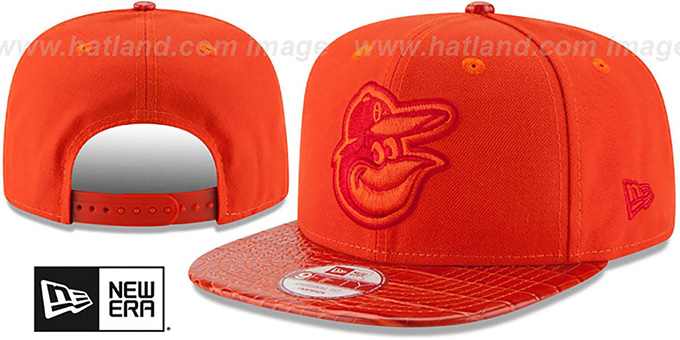 Orioles 'SNAKE SKINZ SNAPBACK' Orange Adjustable Hat by New Era : pictured without stickers that these products are shipped with