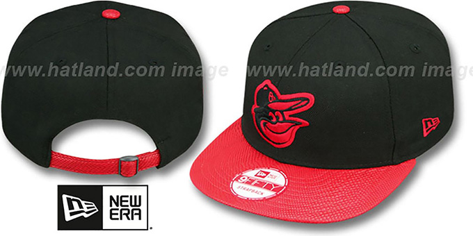 Orioles 'SNAKE-THRU STRAPBACK' Black-Red Adjustable Hat by New Era : pictured without stickers that these products are shipped with