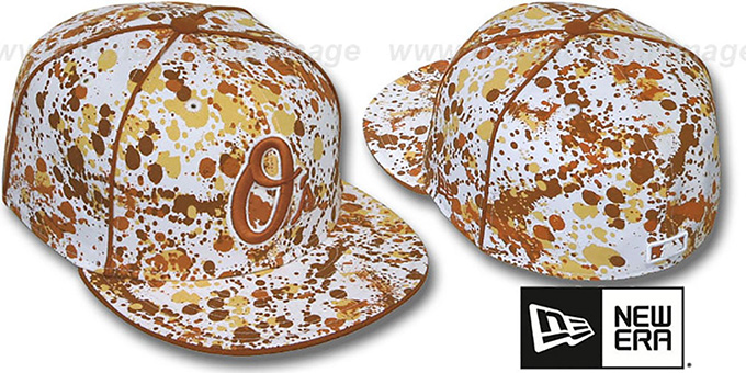 Orioles 'SPLATTER' White-Orange Fitted Hat by New Era : pictured without stickers that these products are shipped with