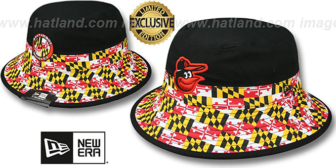 Orioles 'SPLITTER MARYLAND FLAG BUCKET' Hat by New Era : pictured without stickers that these products are shipped with
