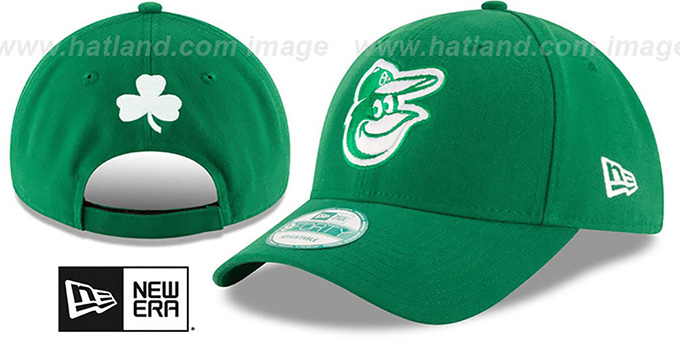 Orioles 'ST PATRICKS DAY' Green Strapback Hat by New Era : pictured without stickers that these products are shipped with