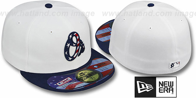 Orioles 'STARS N STRIPES' White-Navy Hat by New Era : pictured without stickers that these products are shipped with